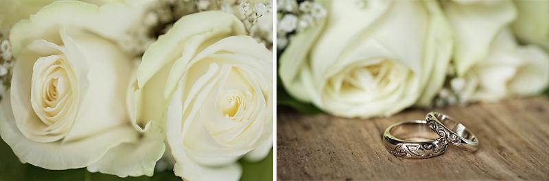alliances et roses blanches